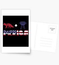 Foxplus Barbeque Merica American Flag Postales