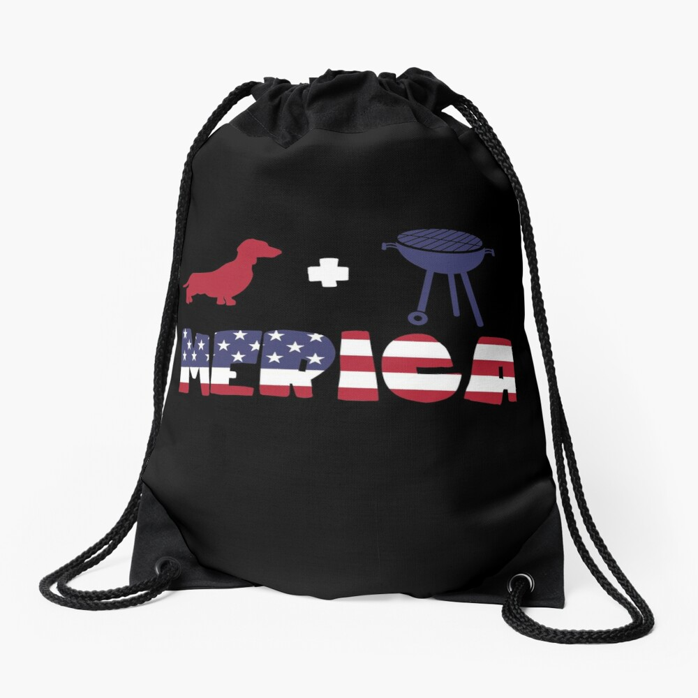 Funny Dachshund plus Barbeque Merica American Flag Mochila saco