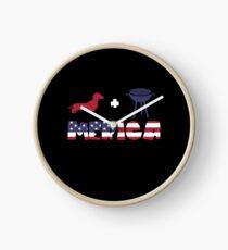 Funny Dachshund plus Barbeque Merica American Flag Reloj