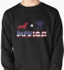 Funny Dachshund plus Barbeque Merica American Flag Sudadera sin capucha