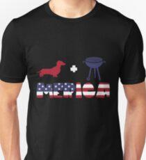 Funny Dachshund plus Barbeque Merica American Flag Camiseta ajustada
