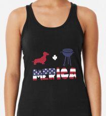 Funny Dachshund plus Barbeque Merica American Flag Camiseta con espalda nadadora