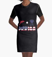 Funny Dolphin plus Barbeque Merica American Flag Vestido camiseta