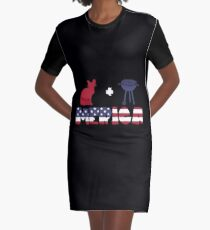 Awesome Cat plus Barbeque Merica American Flag Vestido camiseta