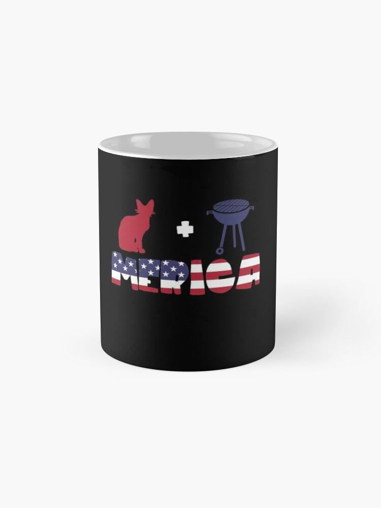 Vista alternativa de Taza Awesome Cat plus Barbeque Merica American Flag