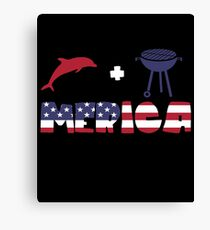 Funny Dolphin plus Barbeque Merica American Flag Lienzo