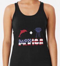 Funny Dolphin plus Barbeque Merica American Flag Camiseta con espalda nadadora