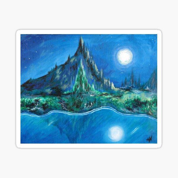Glass River, Jade Mountain Art SciFi Landscape Sticker