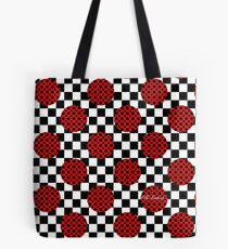 Checkerboard Red Circles Dots Tote Bag