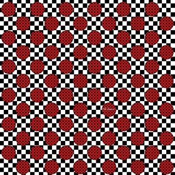 Checkerboard Red Circles Dots by loeye