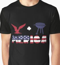 Awesome Eagle plus Barbeque Merica American Flag Camiseta gráfica