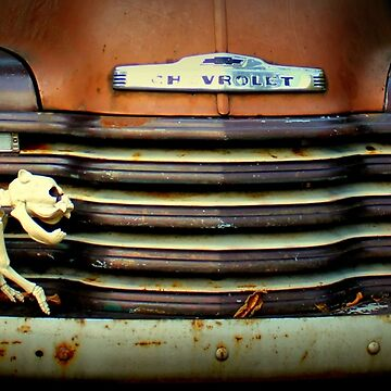 Front End Grille Of 1953 Chevrolet Advantage Design Truck With Dog Skeleton by anitahiltz