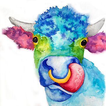 Darlene Watercolor Cow by jstunkard