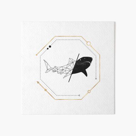 Shark Black Gold Geometric LowPoly Art Board Print