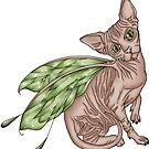 Hairless Sphynx Cat - Fairy Cat by shelahdowart