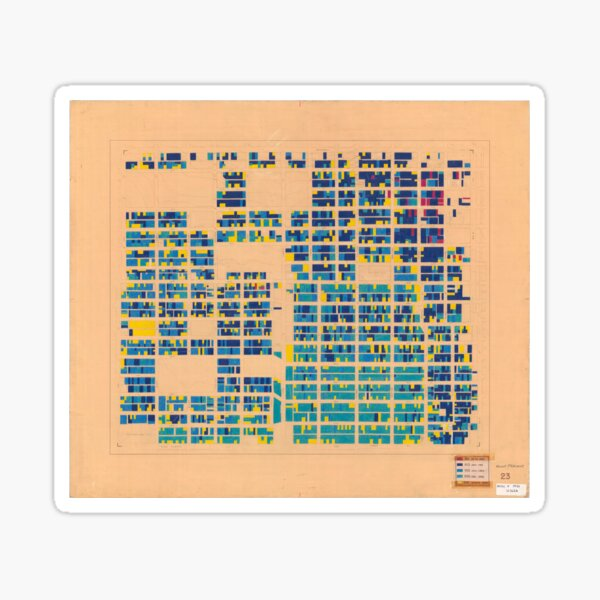 1954 building age map of Mount Pleasant (West) in blue and gold Sticker