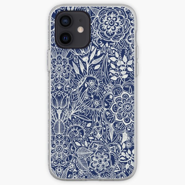 Detailed Floral Pattern in White on Navy iPhone Soft Case