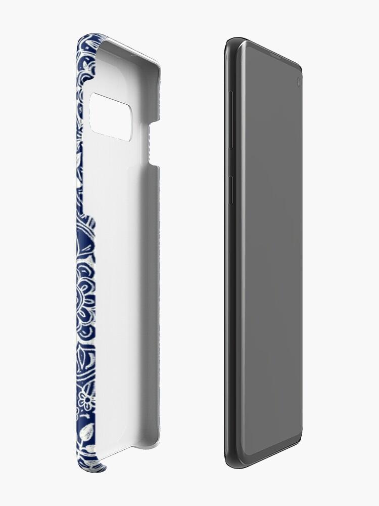 Vista alternativa de Funda y vinilo para Samsung Galaxy Patrón floral detallado en blanco en azul marino