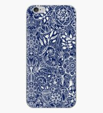Detailed Floral Pattern in White on Navy iPhone Case