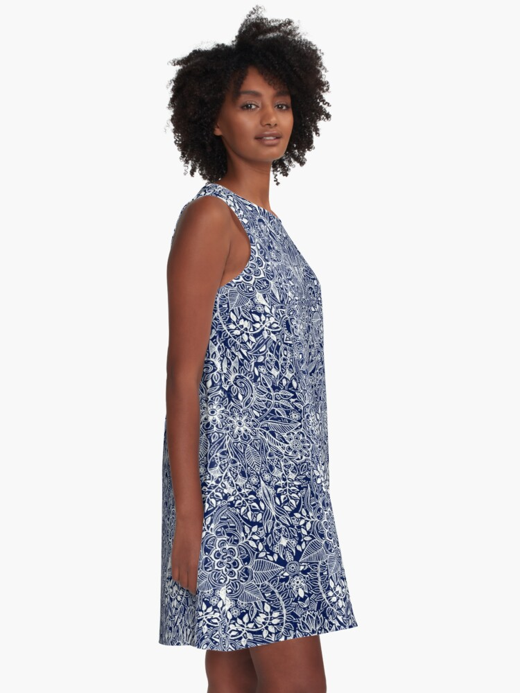 Alternate view of Detailed Floral Pattern in White on Navy A-Line Dress