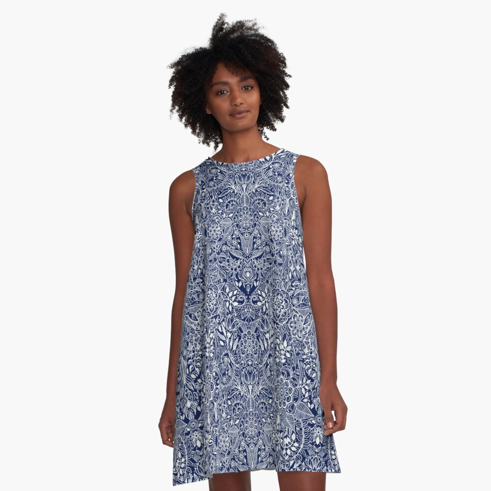 Detailed Floral Pattern in White on Navy A-Line Dress