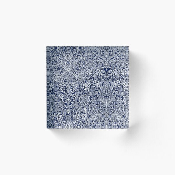 Detailed Floral Pattern in White on Navy Acrylic Block