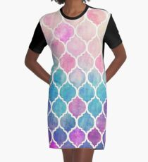 Rainbow Pastel Watercolor Moroccan Pattern Graphic T-Shirt Dress