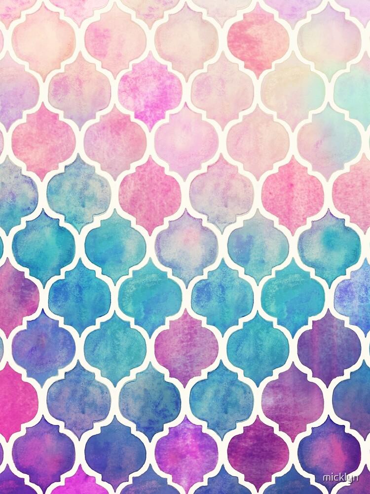 Rainbow Pastel Watercolor Marroquí Patrón de micklyn