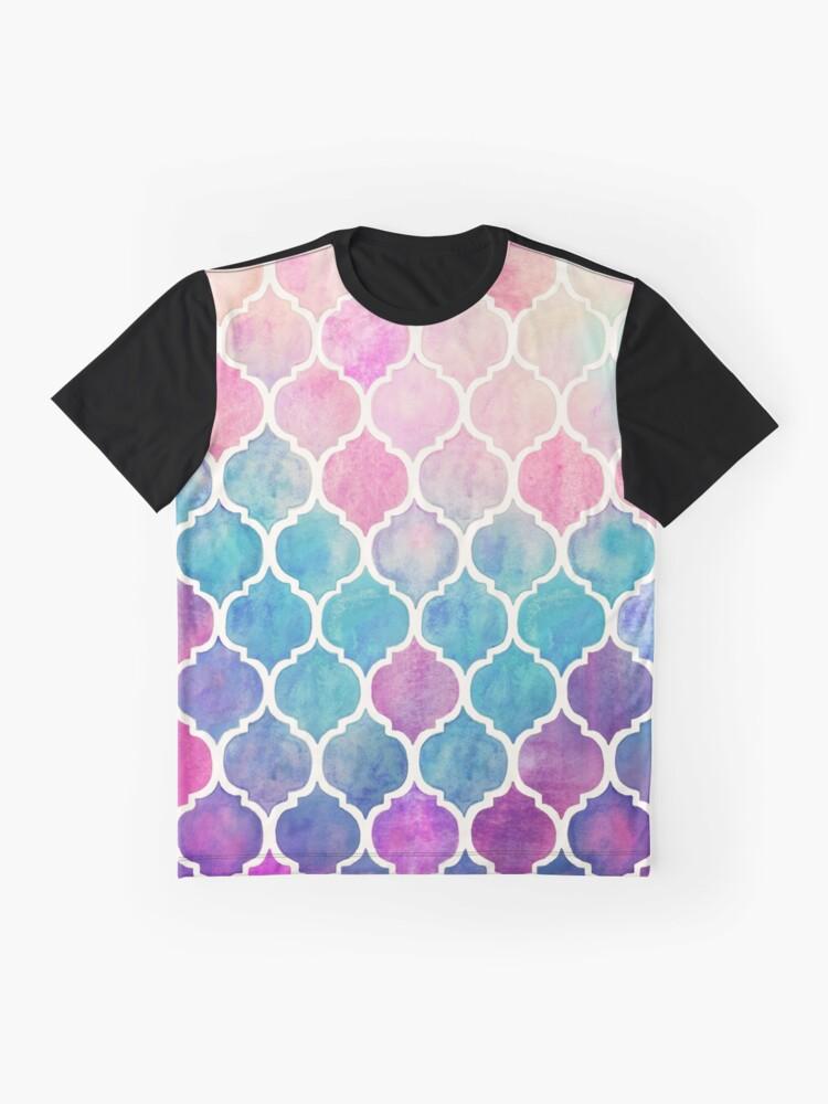 Vista alternativa de Camiseta gráfica Rainbow Pastel Watercolor Marroquí Patrón