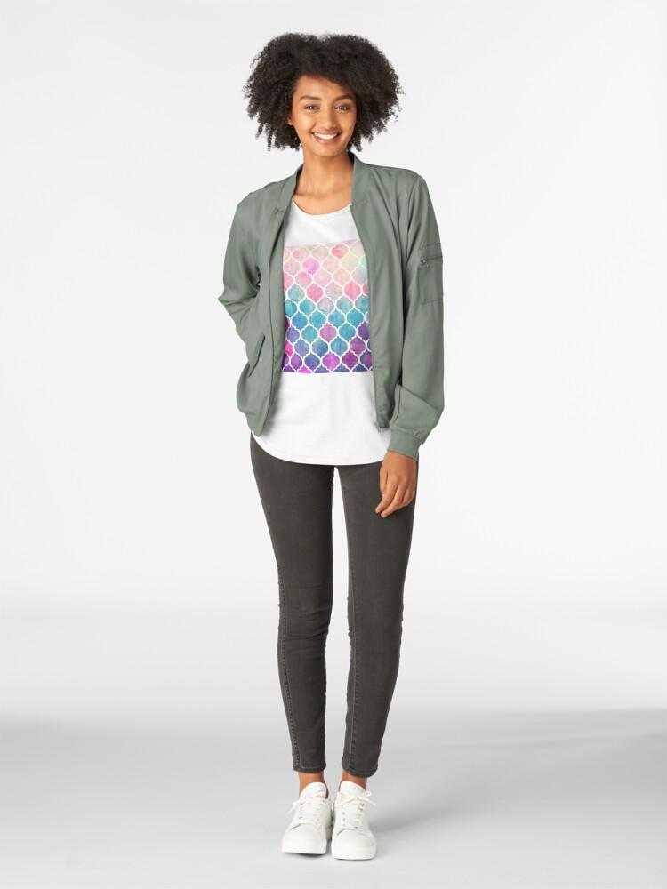 Alternate view of Rainbow Pastel Watercolor Moroccan Pattern Premium Scoop T-Shirt