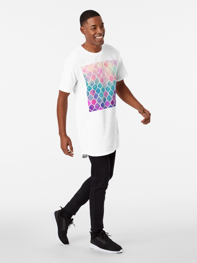 Alternate view of Rainbow Pastel Watercolor Moroccan Pattern Long T-Shirt