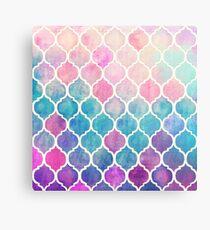 Regenbogen Pastell Aquarell marokkanischen Muster Metallbild