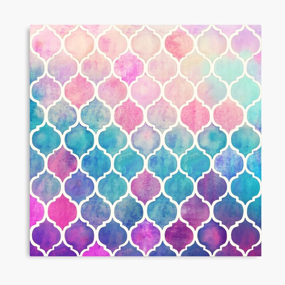 Rainbow Pastel Watercolor Marroquí Patrón Lienzo
