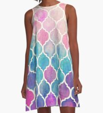 Rainbow Pastel Watercolor Moroccan Pattern A-Line Dress