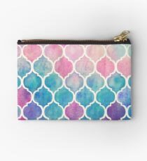 Rainbow Pastel Watercolor Moroccan Pattern Studio Pouch