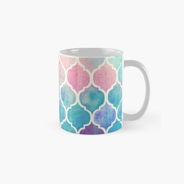 Rainbow Pastel Watercolor Moroccan Pattern Classic Mug