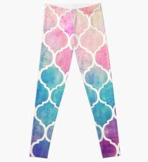 Rainbow Pastel Watercolor Moroccan Pattern Leggings