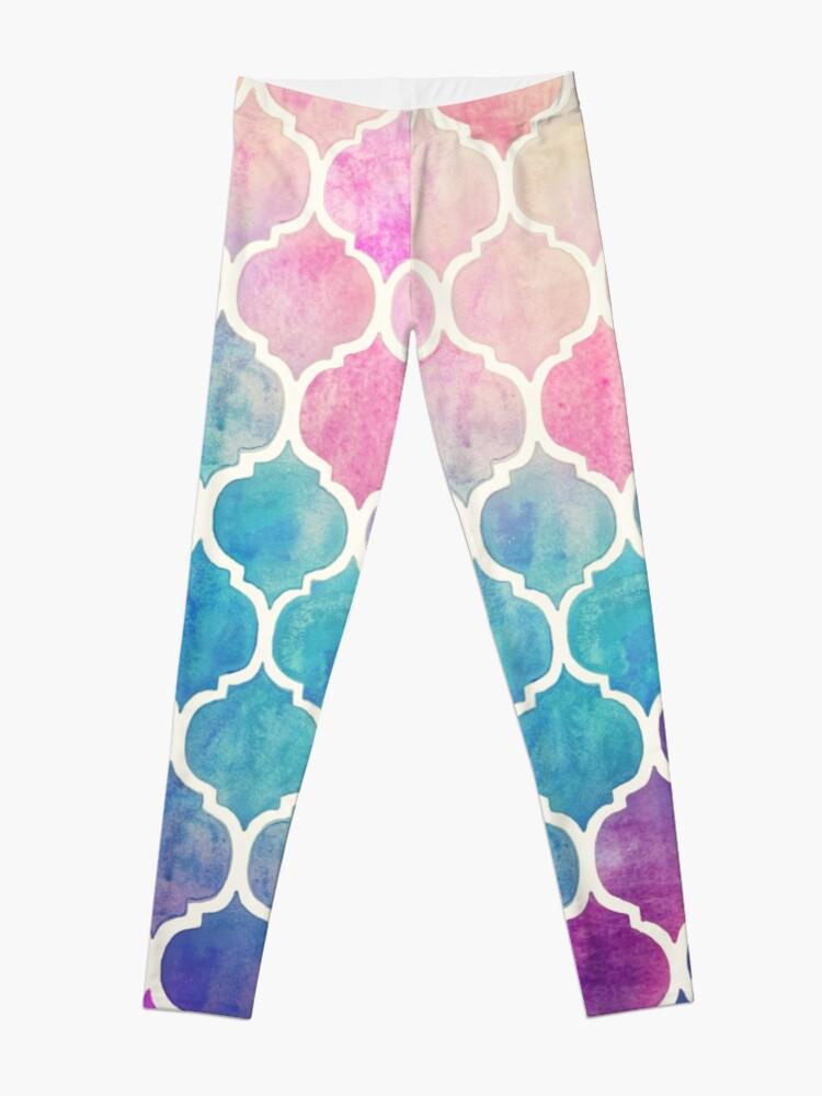 Alternate view of Rainbow Pastel Watercolor Moroccan Pattern Leggings