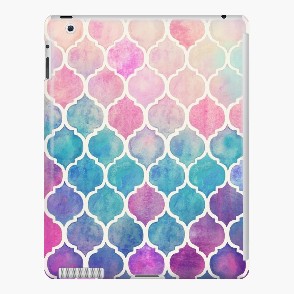 Rainbow Pastel Watercolor Marroquí Patrón Funda y vinilo para iPad