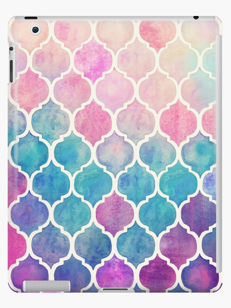 18bbc078fa02a 'Rainbow Pastel Watercolor Moroccan Pattern' iPad Case/Skin by micklyn