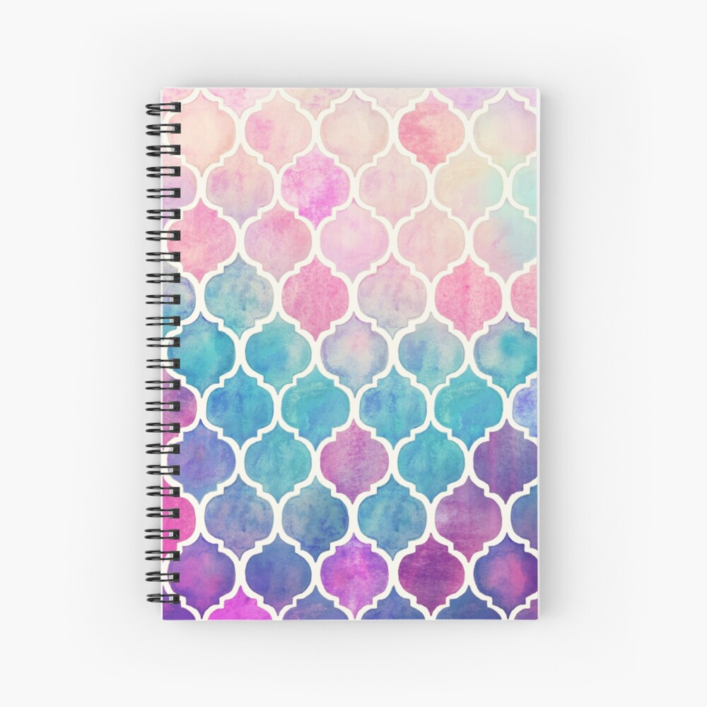 Rainbow Pastel Watercolor Moroccan Pattern Spiral Notebook