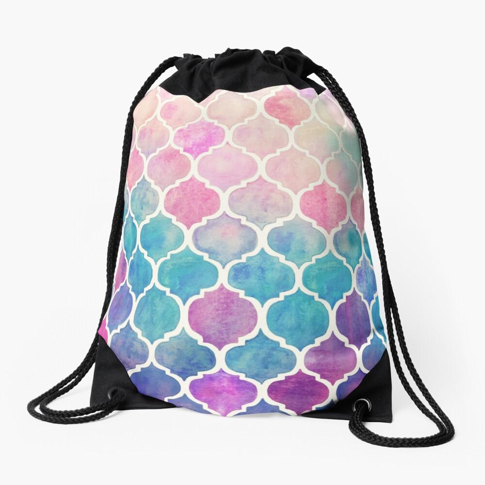 Rainbow Pastel Watercolor Moroccan Pattern Drawstring Bag