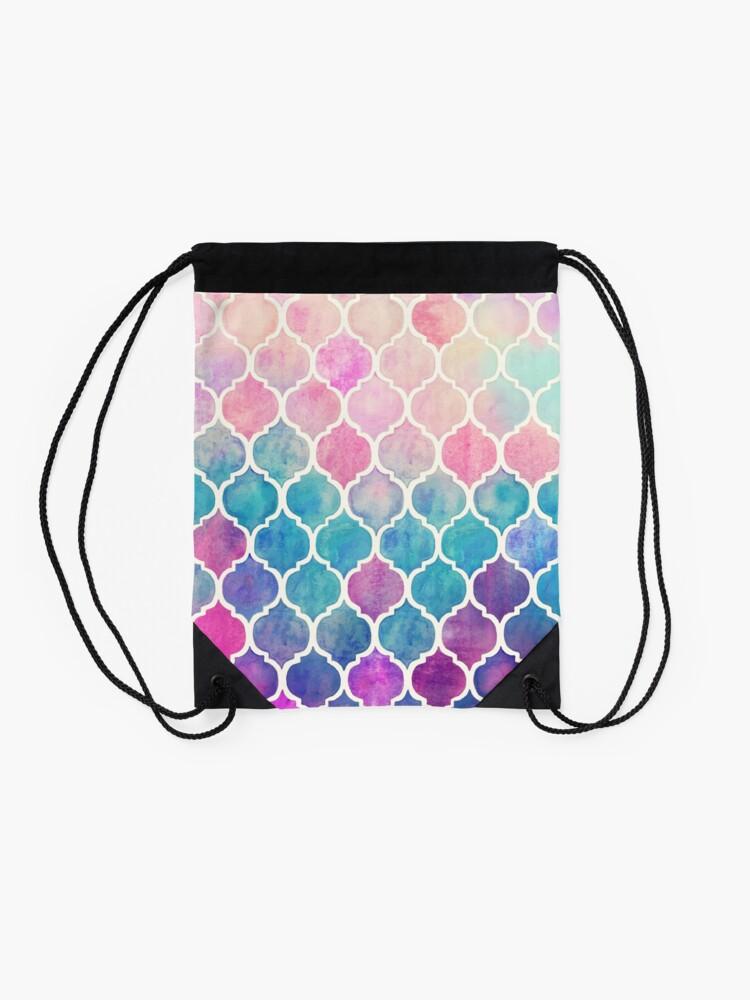 Alternate view of Rainbow Pastel Watercolor Moroccan Pattern Drawstring Bag