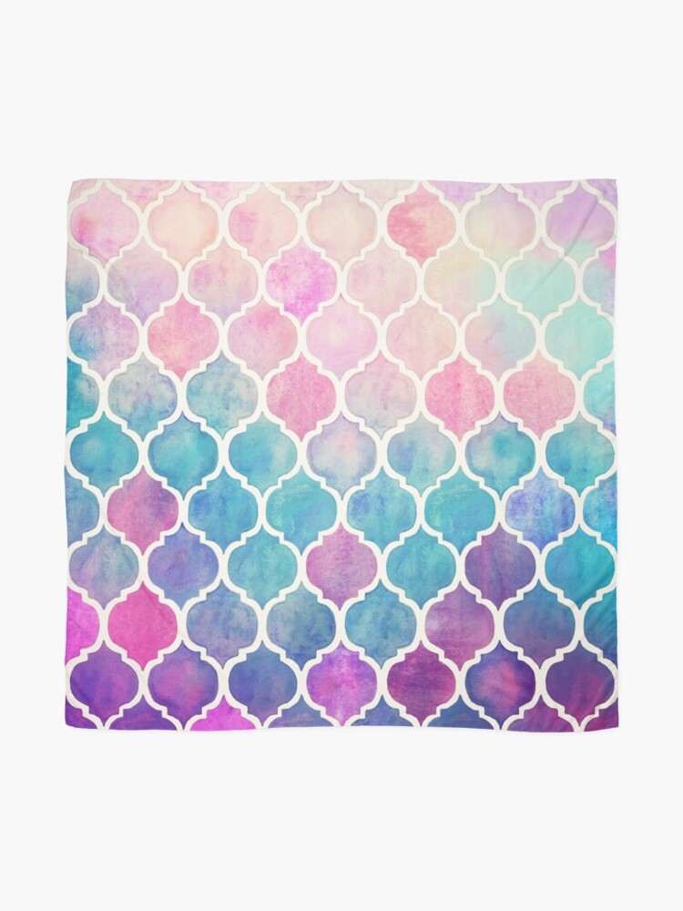 Alternate view of Rainbow Pastel Watercolor Moroccan Pattern Scarf
