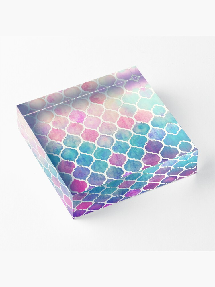 Alternate view of Rainbow Pastel Watercolor Moroccan Pattern Acrylic Block