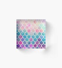 Rainbow Pastel Watercolor Moroccan Pattern Acrylic Block