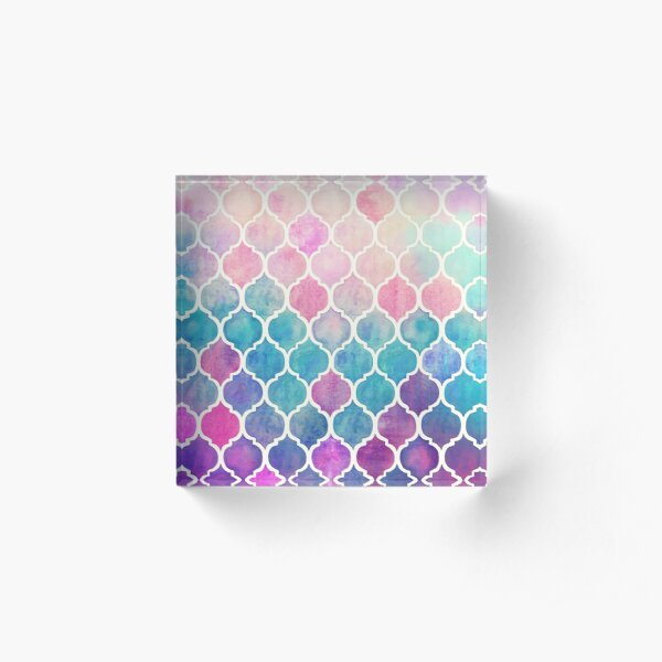 Rainbow Pastel Watercolor Moroccan Pattern Acrylic Block