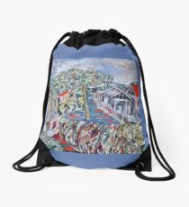 Tiles and Glass, Trees and Grass Drawstring Bag