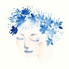 blue flowers girl by daolinh