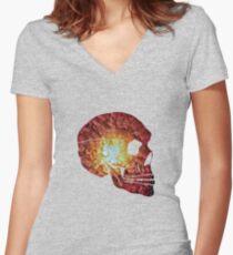 Flower Skull Red Women's Fitted V-Neck T-Shirt